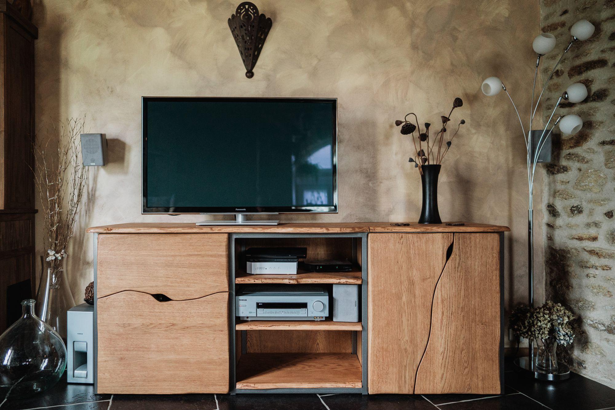 Meuble TV Chêne massif et métal laqué